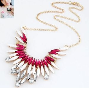 Jewelry - Gold Jewel Pink Crystal Statement Necklace